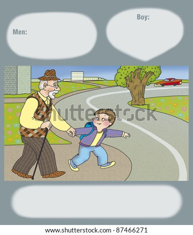 boy offers his grandfather cross the road - stock photo