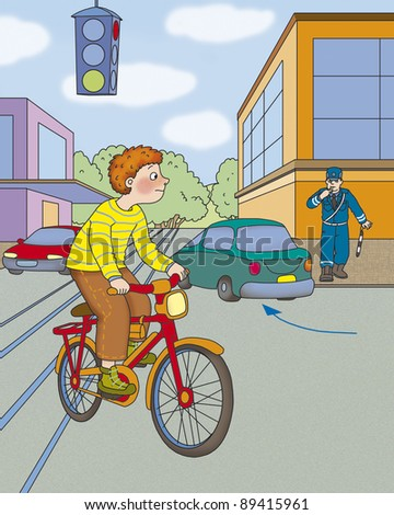 boy on a bicycle moves tram tracks, correct? - stock photo