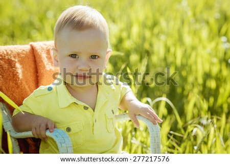 Boy on a green lawn