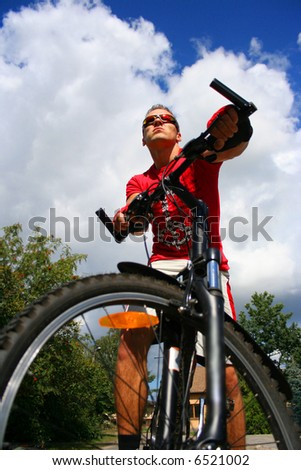 boy on the bicycle - stock photo