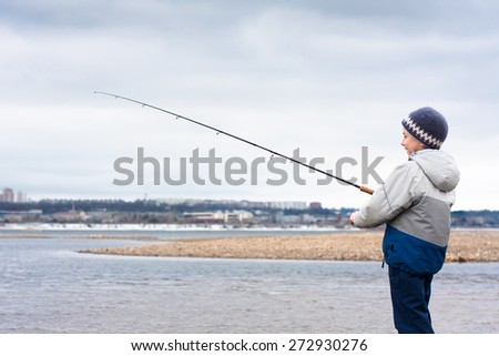 boy on the fishing - stock photo
