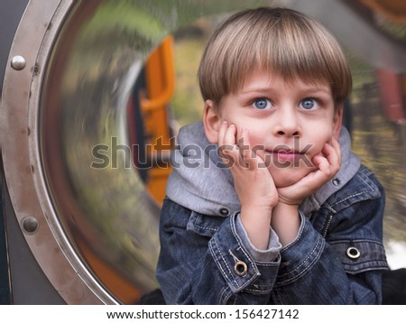 boy on the playground,  - stock photo