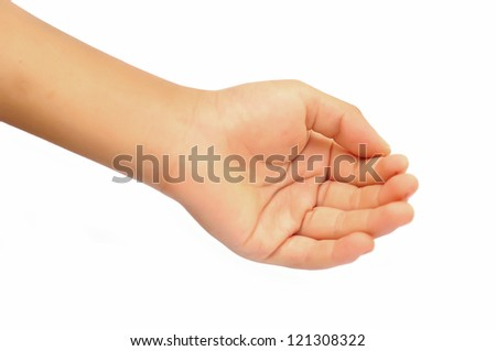 boy open hand (palm) isolated on white background - stock photo