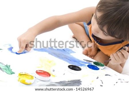Boy paint with the hands on white . - stock photo
