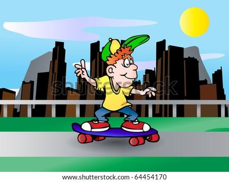 boy playing skateboard on city background illustration - stock photo