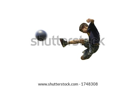 Boy playing soccer isolated - stock photo