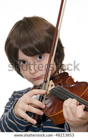 Boy playing violin isolated on white background - stock photo