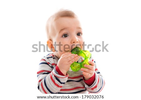 boy playing with educational toy isolated on white