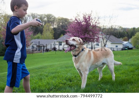 Boy playing with her dog outside.
