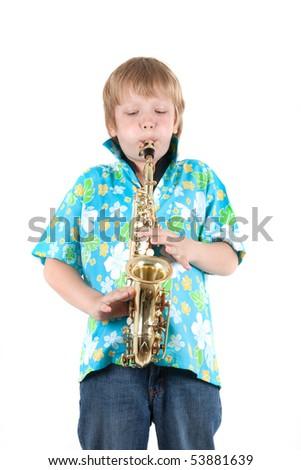 boy plays a saxophone - stock photo