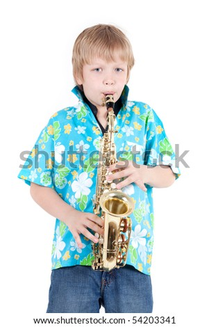 boy plays on saxophone - stock photo