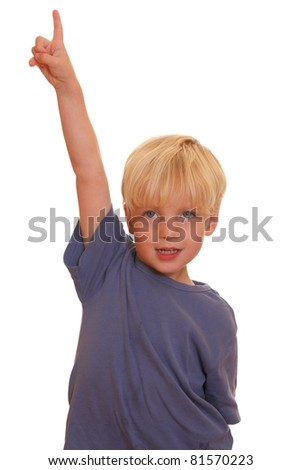 Boy pointing high - stock photo