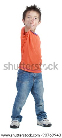 boy pointing his hand isolated on white background