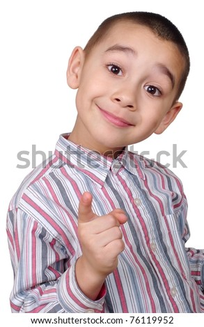 boy pointing up looking wise or smart - stock photo