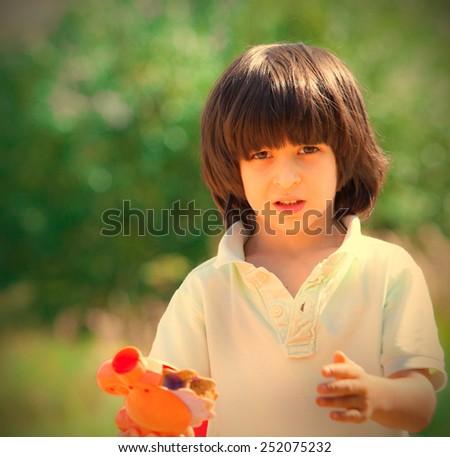 boy portrait on outdoor at summer - stock photo