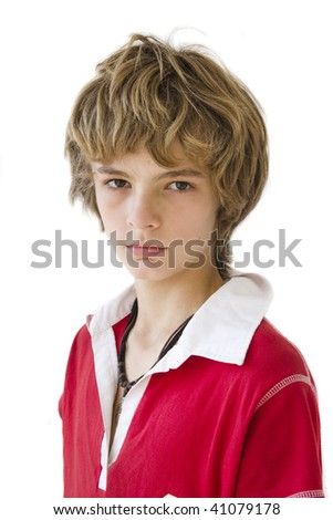 boy portrait over white background - stock photo