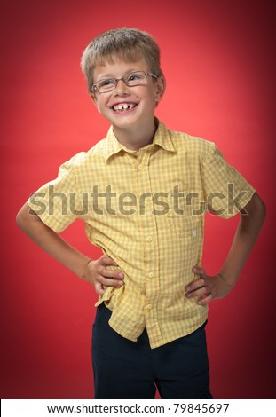 boy posing in a photo studio