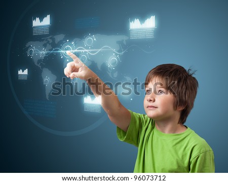 Boy pressing high tech type of modern buttons on a virtual background - stock photo