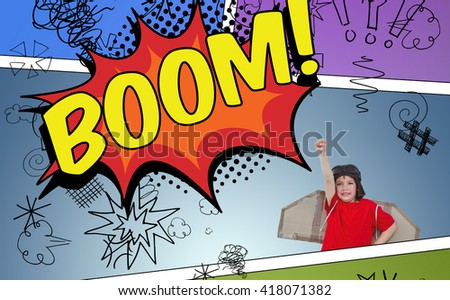 Boy pretending to be a pilot against the word boom - stock photo