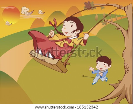 Boy pushing the girl on the swing