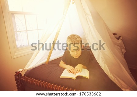 Boy reading in a fort made of sheets - stock photo