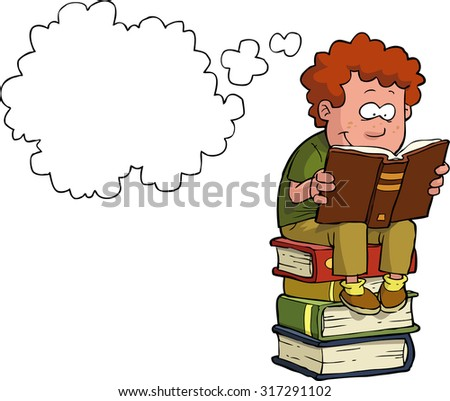 Boy reading on a stack of books raster version - stock photo