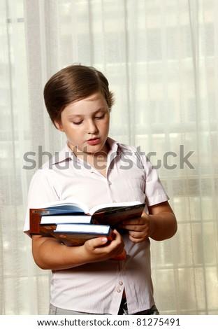 Boy reading the book - stock photo