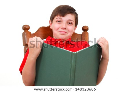 Boy reads a book - stock photo