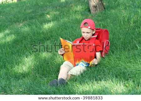 Boy reads the textbook sitting on a grass - stock photo