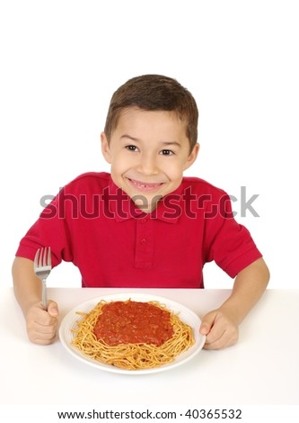 boy ready to eat spaghetti, isolated on white background - stock photo