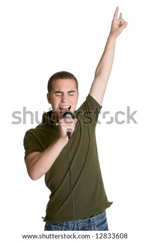 Boy Rocking Out - stock photo