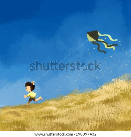 Boy running with a flying kite, Rough painting illustration. - stock photo
