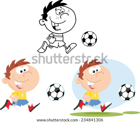 Boy Running With Soccer Ball. Raster Collection Set