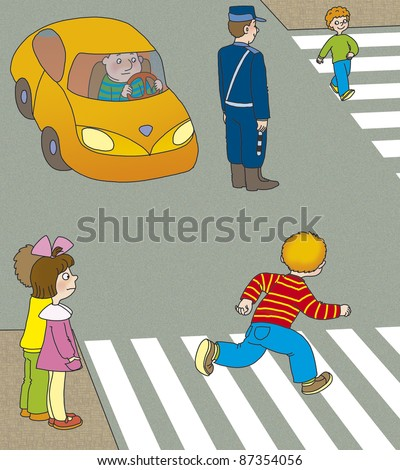 boy runs across the road at a pedestrian crossing in front of the machine - stock photo