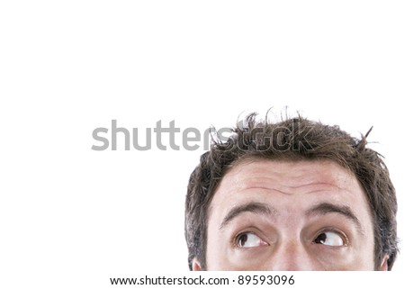 boy's head appeared below the picture and with eyes looking left - stock photo