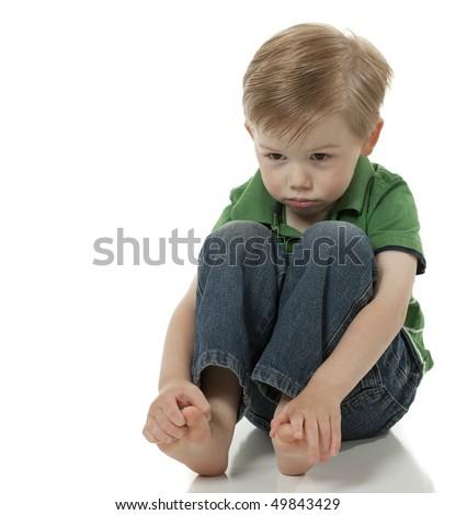 Boy Sad and Pouting - stock photo