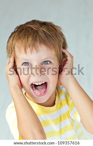 boy screams - stock photo