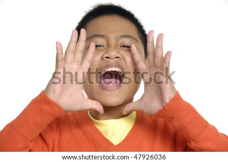 Boy shouting - stock photo