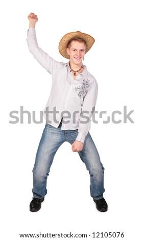 Boy simulate riding - stock photo