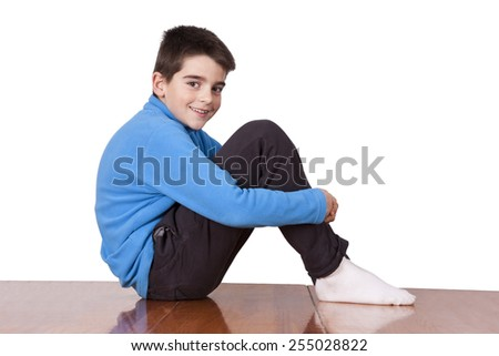boy sitting at home isolated - stock photo