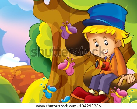 Boy sitting in the branch - stock photo