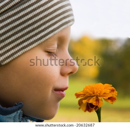 Boy smelling flower in autumn scenery - stock photo