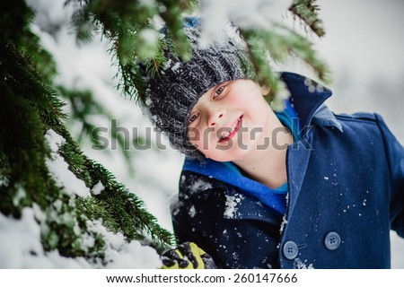 boy snow winter  - stock photo