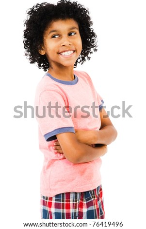Boy standing with her arms crossed isolated over white - stock photo