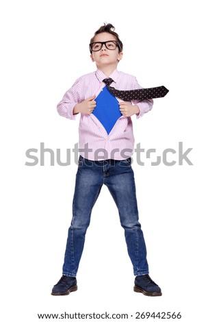 boy super hero full length - stock photo