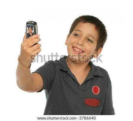 Boy taking his photo with a mobile phone