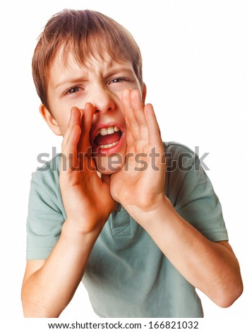 boy teenager calling cries kids shouts opened his mouth isolated on white background