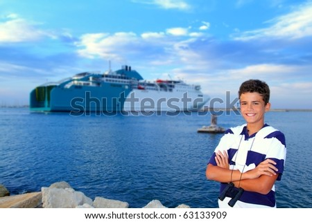 boy teenager in ferry harbor blue sea summer vacation sailor - stock photo