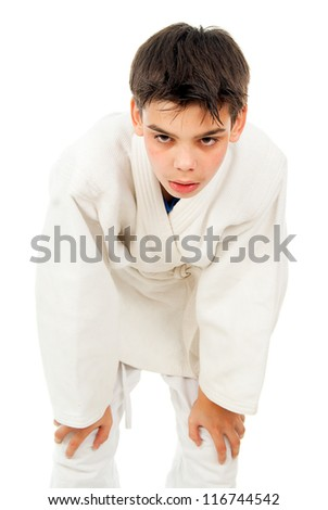 boy tired of fighting isolated - stock photo