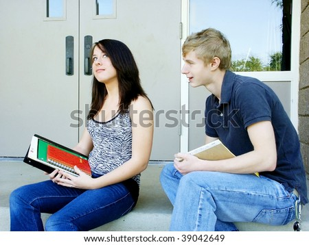 Boy trying to get a date - stock photo